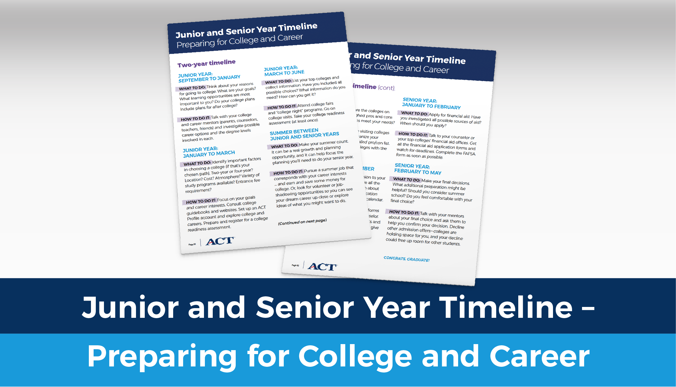 Junior and Senior Year Timeline - Preparing for College and Career